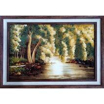 """Картина із бурштину """"Верба над водою"""" 40х60 см"""