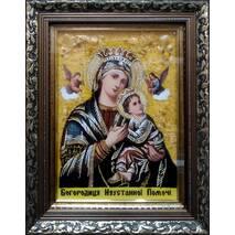 """Ікона з янтаря """"Богородиця неустанної помочі"""" 20х30 см в склі"""