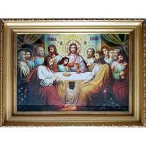 """Икона из янтаря """"Тайная вечеря"""" 30х40 см в стекле"""