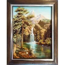 """Картина з бурштину """"Водопад"""" 15x20 см"""