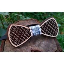 Деревянная бабочка галстук Орнамент Синий ручной работы, серия Fantasy