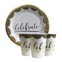 """Набір одноразового посуду """" Celebrate золото """" Тарілки - 10 шт Скляночки - 10 шт"""