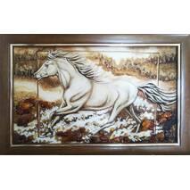 """Картина из янтаря """"Белая лошадь"""" 30х50 см"""