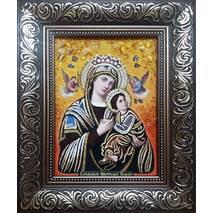 """Ікона з янтаря """"Богородиця неустанної помочі"""" 15х20 см без скла"""