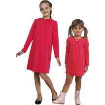 Платье  для девочки трикотажное с рукавом М-1107  рост 98 104 110 116 122 128 134 и 140 красное 140