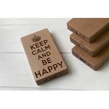 Дерев'яний зовнішній акумулятор Maple з гравіюванням Happy