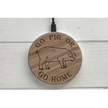 Дерев`яна бездротова зарядка SkinWood White Fast Charger Pig
