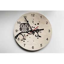 Дизайнерський настінний дерев'яний годинник для Сова