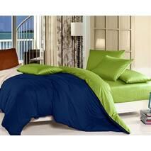 Комплект двустороннего постельного белья Синий +  Салатовый