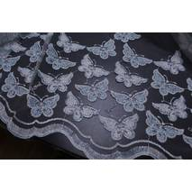 Тюль с набитой вышивкой бабочки бирюзового цвета В спальную, детскую