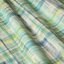 Ткань для штор хлопковая с размытыми желто-голубыми квадратами 83371v2