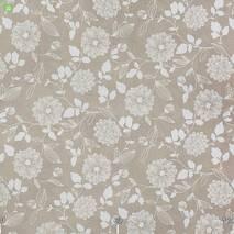 Ткань для штор хлопковая с узором белые контурные цветы на льне 83359v1