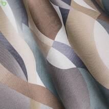 Ткань для штор с узором кривая полоса серая с коричневым 83357v1