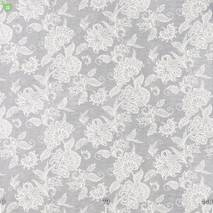 Декоративная ткань серого цвета с классическим цветочным орнаментом Испания 84240v1