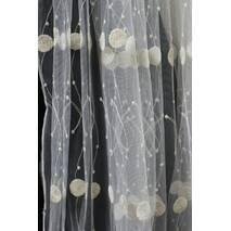 Тюль бело-золотая вышивка одуванчик для спальной