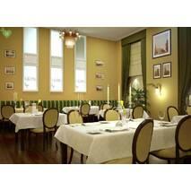 Скатертная ткань для ресторана с ромбовидным вензелем кремового цвета Италия 83547v3