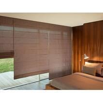 Римская штора коричневая система классик на веранду, в спальную