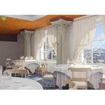 Скатертная ткань для ресторана с ромбовидным вензелем белого цвета Италия 83546v2