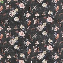 Ткань натуральный хлопок для штор в спальную с бутонами роз на черном