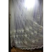 Фатиновая молочная тюль с вышитым низом в гостиную, спальную