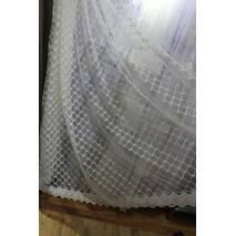 Тюль молочная красивая аккуратная вышивка по всей высоте в детскую, спальную, гостиную