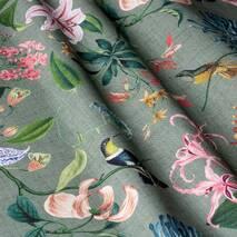 Ткань декоративная с крупными цветными растениями и птицами для штор в спальную