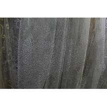 Оригинальная нарядная тюль в зал,спальню белая с дизайном веточек