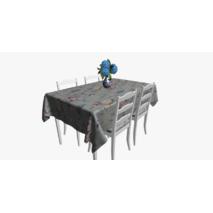 Ткань для штор хлопковая с мелкими бутонами розовых и бежевых цветов на голубом