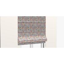 Ткань для штор натуральный хлопок с цветными веточками растений на голубом фоне 84294v1