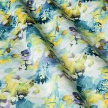 Ткань для штор с размытыми цветами бежево желтого и голубого цвета