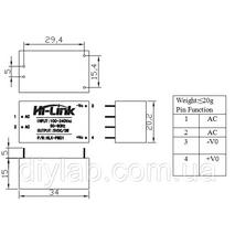 Модуль живлення AC/DC 220В/5В 0,6А HLK-PM01
