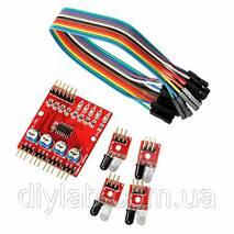 Модуль датчиков обхода препятствий, черных и белых участков для Arduino