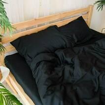 """Полуторный комплект постельного белья из бязи голд""""однотонный черный"""""""