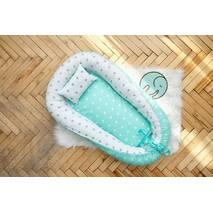 Гнездышко кокон позиционер для новорожденного Добрый сон BabyNest 52х85 см мятный