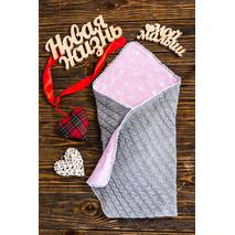 Вязаный плед для новорожденного Добрый сон New life 85х85 см серо-розовый