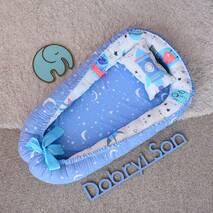 Гнездышко кокон позиционер для новорожденного Добрый сон BabyNest 52х85 см голубой