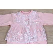 Наряд на крестины девочке Lari Мари 56 розово-белый