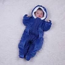 Велюровый утепленный комбинезон с вязкой Brilliantbaby 56-74 синий