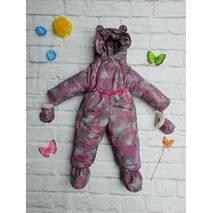 Зимний комбинезон трансформер с отстегивающимся мехом Timmy Kids Бабочки 56-80 см Серый с розовым