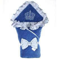 Демисезонный конверт на выписку Lari Excellent велюр 85х85 см белыо-синий