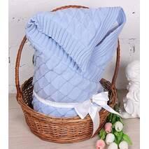 Демисезонный конверт-одеяло Lari Вязка 85х85 см голубой