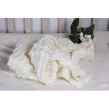 Вязаный плед для новорожденного Lari Вязка 85х85 см айвори