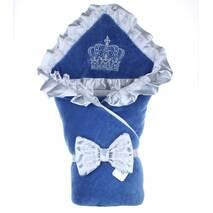 Зимний конверт на выписку Lari Excellent велюр 85х85 см синий