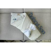 Конверт для новорожденных на выписку Сатин с кантом Dobryi Son Молочный с белочками