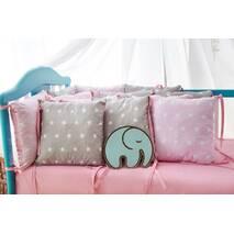 Захист зі знімними наволочками в ліжечко Dobryi son Bravo 12 шт 3-03-1 Рожево-сіра зірка