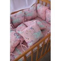 Захист зі знімними наволочками в ліжечко Dobryi son Bravo 12 шт 3-03-1 Рожеві хмаринки   одноріг