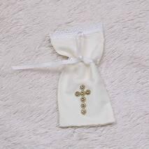 Мешочек для первых состриженых волос Крестик Золотой айвори