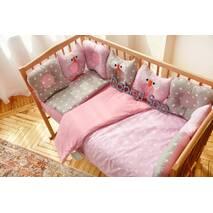 Комплект постельного белья для новорождённых Совушки 9-01 Для девочек 60х120 см серо-розовый