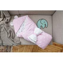Конверт-одеяло для малыша Dobryi Son Капюшон с ушками Мишки 100х80 см бело-розовый