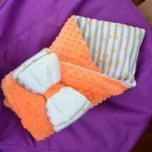 Конверт-одеяло плюш Minki+бязь ПЛЮС Dobryi Son Морковный с полоской
